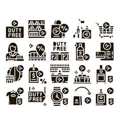 Duty free shop store glyph set vector