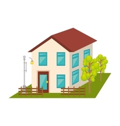 exterior cute house icon vector image
