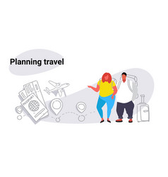 fat obese man woman travelers standing together vector image