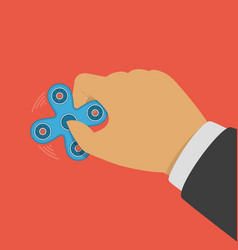 Fidget spinner in hand vector