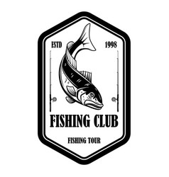 fishing club emblem template with salmon fish and vector image