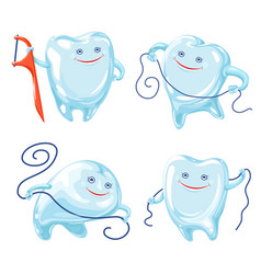 floss icons set cartoon style vector image