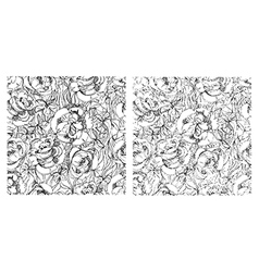Flower semless set grey 2 vector