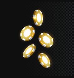 gold casino chips falling realistic 3d gambling vector image