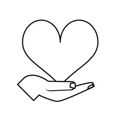 hand and cartoon heart icon image vector image