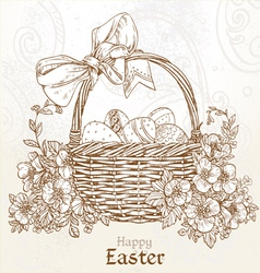 Happy Easter card with a basket of Easter eggs vector image vector image