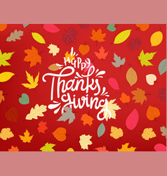 Happy thanksgiving day color fall leaves vector