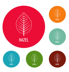Hazel leaf icons circle set vector