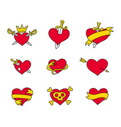 heart icons set collection pierce arrow pirate vector image