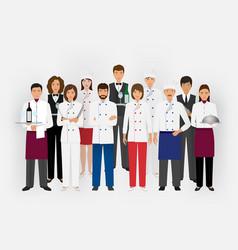 hotel restaurant team concept in uniform group of vector image