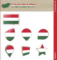 Hungary flag set flag set 23 vector