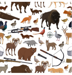 hunting equipment and animals seamless pattern vector image