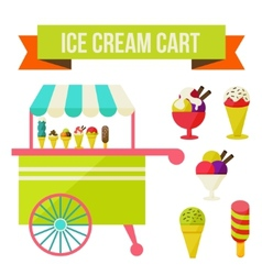 Ice cream cart vector