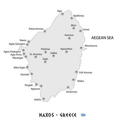 island of naxos in greece white map vector image