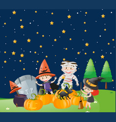 Kids on halloween night vector
