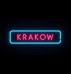 Krakow neon sign bright light signboard banner vector