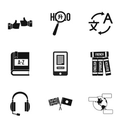 Languages icons set simple style vector