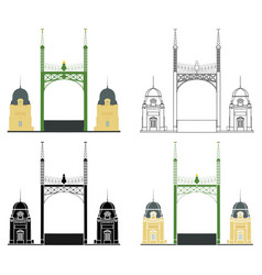 Liberty bridge in budapest entrance view vector