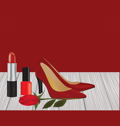 Makeup red shoes and rose on wooden planks vector