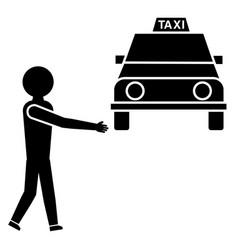 man stops a taxi glyph icon vector image