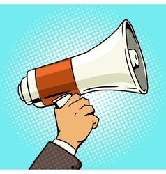 megaphone in hand pop art style vector image