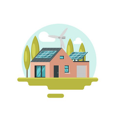 Modern eco-friendly house with solar panels on vector