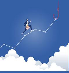 money trap-businessman running to fishing hook vector image