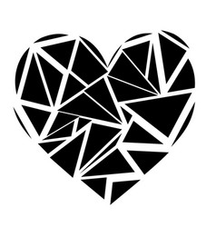 Monochrome geometric mosaic broken heart shape vector