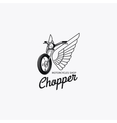 Motorcycle shop logotype or motorbike label vector