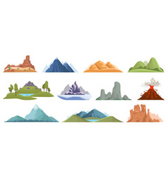 mountain peaks snow ice tops green hills and vector image