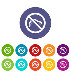 no caterpillar sign set icons vector image