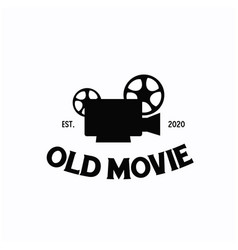 old fashioned movie film camera logo design vector image