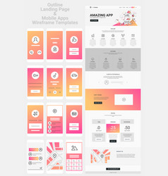 One page website and mobile apps wireframe kit vector