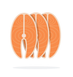 Part uncooked salmon vector