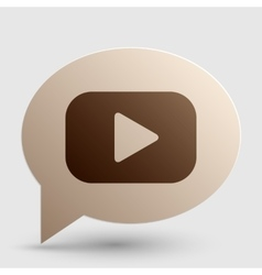 Play button sign Brown gradient icon on bubble vector image