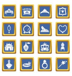 princess doll icons set blue square vector image