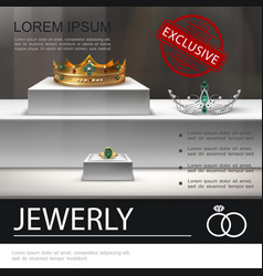 Realistic jewelry advertising template vector