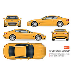 realistic yellow car vector image