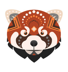 Red panda head logo fire fox decorative vector