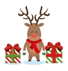 reindeer box gifts christmas isolated vector image