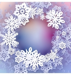Round snow frame with place for text vector
