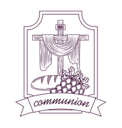 Sacred cross communion bread and bunch grapes hand vector