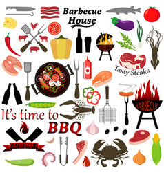 set barbecue and grilled food vector image