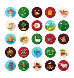 Set farm and agriculture flat design icons vector