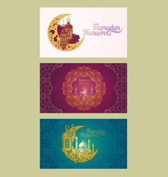 set of banners for ramadan kareem with vector image