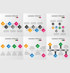 set of rhombus infographics template vector image