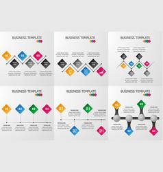 set of rhombus infographics template vector image