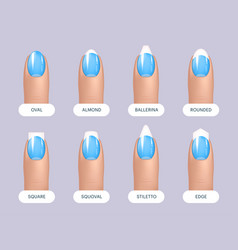 Set of simple realistic blue manicured nails with vector