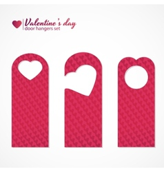 Set of three valentines day themed door hangers vector