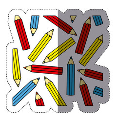 sticker silhouette with pattern of colored pencils vector image